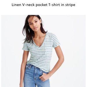 J.Crew size Large Linen V-Neck t-shirt EUC